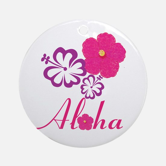 Pink Hibiscus Aloha Ornament (Round)