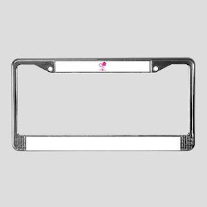 Pink Hibiscus Aloha License Plate Frame