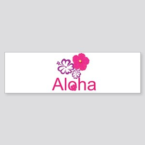 Pink Hibiscus Aloha Sticker (Bumper)