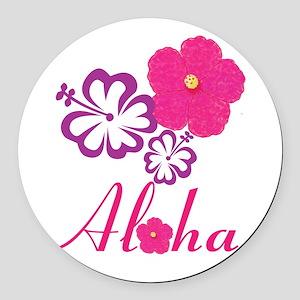 Pink Hibiscus Aloha Round Car Magnet