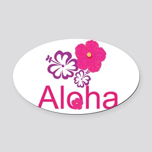 Pink Hibiscus Aloha Oval Car Magnet