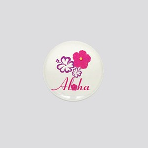 Pink Hibiscus Aloha Mini Button