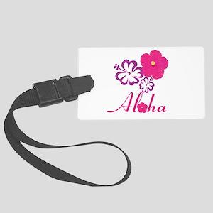 Pink Hibiscus Aloha Large Luggage Tag