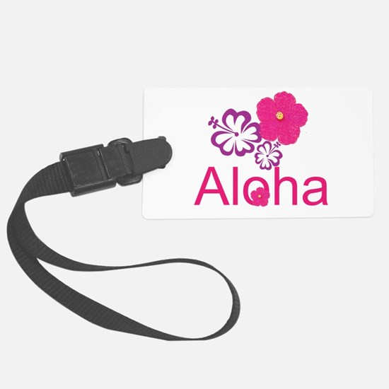 Pink Hibiscus Aloha Large Luggage Tag