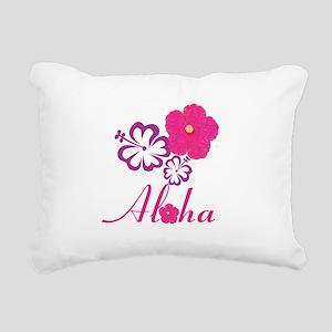 Pink Hibiscus Aloha Rectangular Canvas Pillow