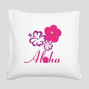 Pink Hibiscus Aloha Square Canvas Pillow