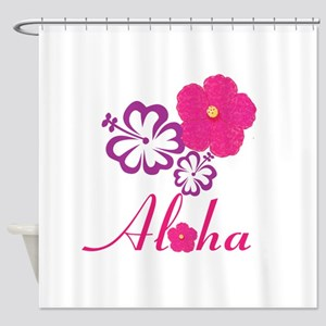 Pink Hibiscus Aloha Shower Curtain