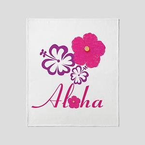Pink Hibiscus Aloha Throw Blanket