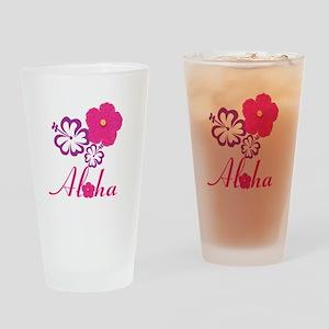 Pink Hibiscus Aloha Drinking Glass