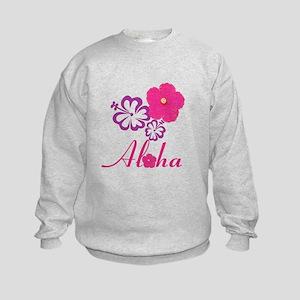 Pink Hibiscus Aloha Kids Sweatshirt