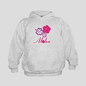 Pink Hibiscus Aloha Kids Hoodie