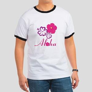 Pink Hibiscus Aloha Ringer T