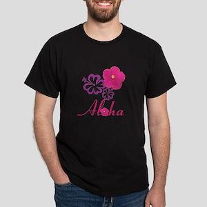 Pink Hibiscus Aloha Dark T-Shirt