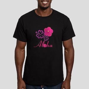 Pink Hibiscus Aloha Men's Fitted T-Shirt (dark)
