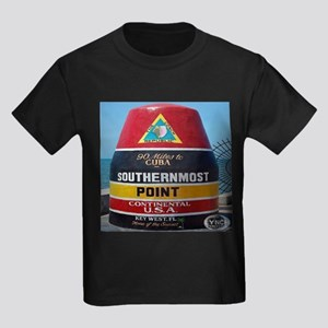 Key West Southern Most Point Monument Kids Dark T-
