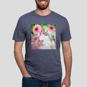 Pink Butterflies Mens Tri-blend T-Shirt
