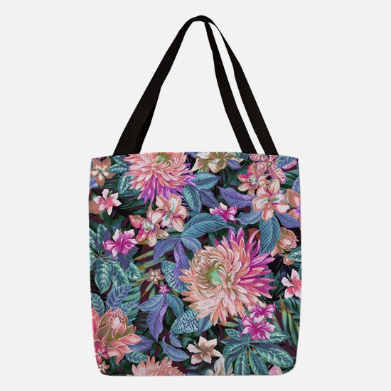 Exotic Floral Polyester Tote Bag