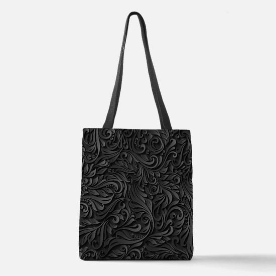 Black Flourish Polyester Tote Bag