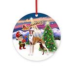 Santa's Take Off & Whippet Ornament (Round)