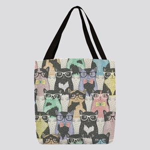 Hipster Cats Polyester Tote Bag