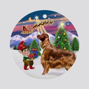 Santa's Take Off & Irish Setter Ornament (Round)