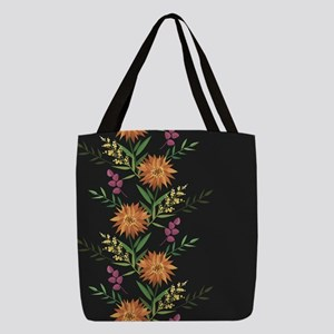 Autumn Flowers Polyester Tote Bag