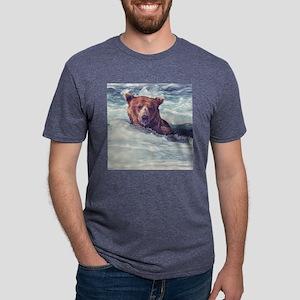 Fishing Bear Mens Tri-blend T-Shirt