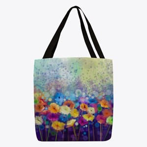 Floral Painting Polyester Tote Bag