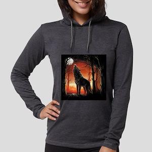Howling Wolf Womens Hooded Shirt