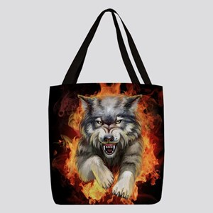 Fire Wolf Polyester Tote Bag