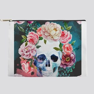 Flowers and Skull Makeup Pouch