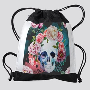 Flowers and Skull Drawstring Bag