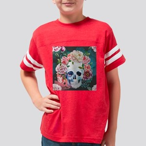 Flowers and Skull Youth Football Shirt