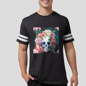 Flowers and Skull Mens Football Shirt