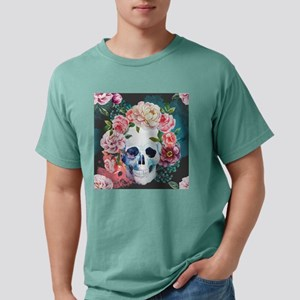 Flowers and Skull Mens Comfort Colors Shirt