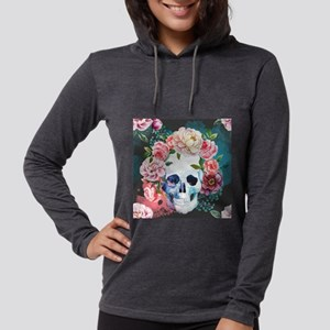Flowers and Skull Womens Hooded Shirt
