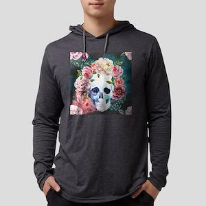Flowers and Skull Mens Hooded Shirt
