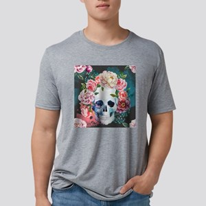 Flowers and Skull Mens Tri-blend T-Shirt