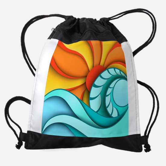 Sun and Sea Drawstring Bag
