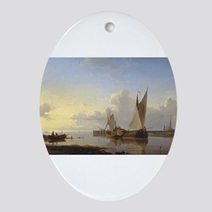 Dutch Fishing Vessels in a Calm at Sunset Ornament