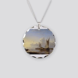 Dutch Fishing Vessels in a Calm at Sunset Necklace