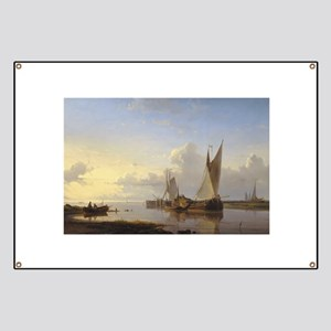 Dutch Fishing Vessels in a Calm at Sunset Banner