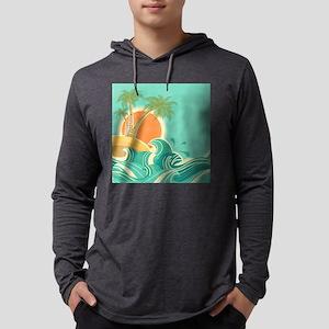 Vintage Tropical Island Mens Hooded Shirt
