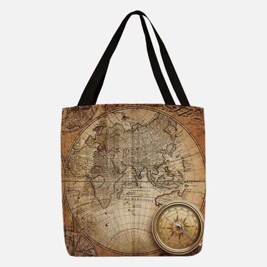Vintage Map Polyester Tote Bag