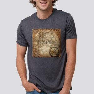 Vintage Map Mens Tri-blend T-Shirt