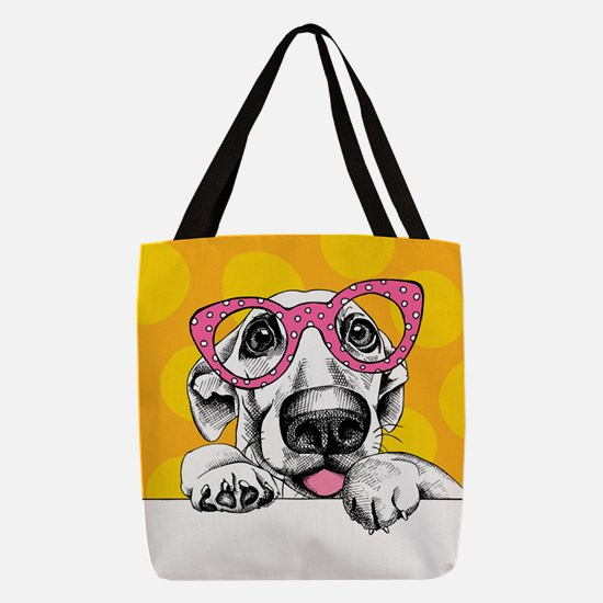 Hipster Dog Polyester Tote Bag