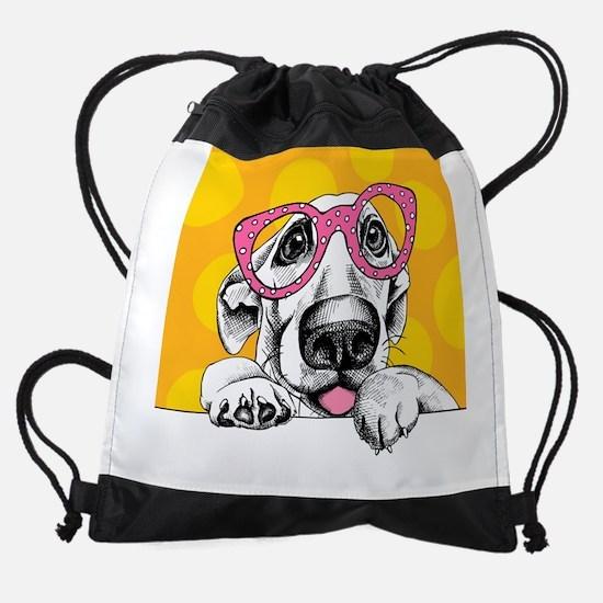 Hipster Dog Drawstring Bag