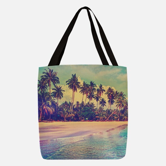 Tropical Island Polyester Tote Bag