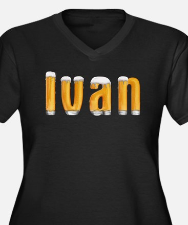 Ivan Beer Women's Plus Size V-Neck Dark T-Shirt