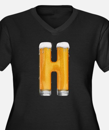 H Beer Women's Plus Size V-Neck Dark T-Shirt